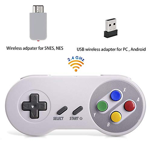 Mando inalámbrico para Super NES Classic Edition&NES Classic Edition, HonWally 2.4 GHz USB Game Pad para PC, Raspberry PI (S, Windows, Linux,Android) Doble Adaptador inalámbrico