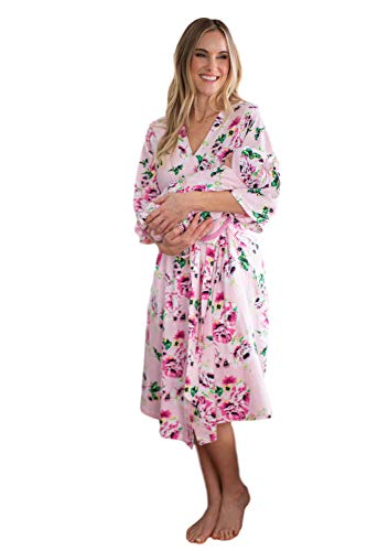 Matching Maternity/Delivery Robe with Baby Swaddle Set, Mom and Baby (Lilly, L/XL pre Pregnancy 12-18)