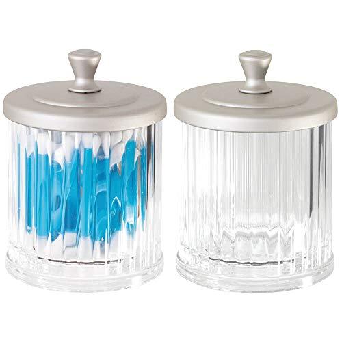 mDesign Set da 2 Contenitore in plastica per prodotti cosmetici – Barattolo con coperchio ideale come porta cosmetici – Organizer cosmetici versatili – trasparente e argento opaco