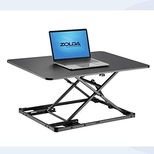Zolda Ultradünner Stehpult-Konverter - Premium-Stehtisch-Konverter mit Höhen-Memory-Funktion für bessere Unterstützung der Körperhaltung. Wandeln Sie einen Tisch in EIN Stehpult um (Schwarz)