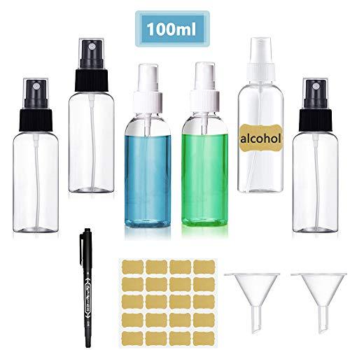 Botellas de spray Vacía Transparente, Botella de Aerosol Viaje, plástico, Bote Spray Pulverizador y 2 Embudos para Maquillaje para Vacaciones, Limpieza, 6 Piezas