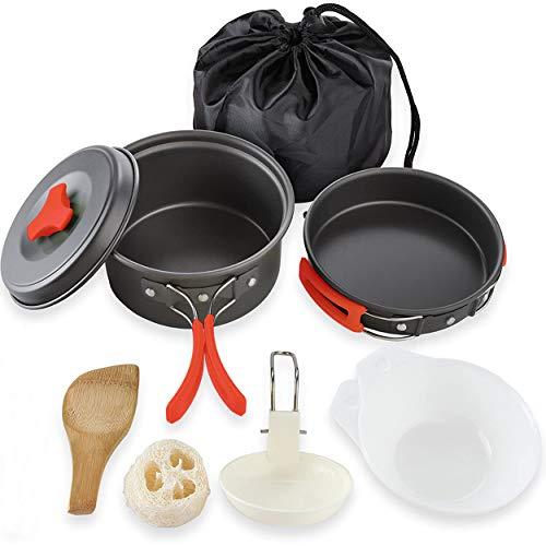 Ahsado Utensilios Cocina Camping Kit con Estufa Trekking, Ol