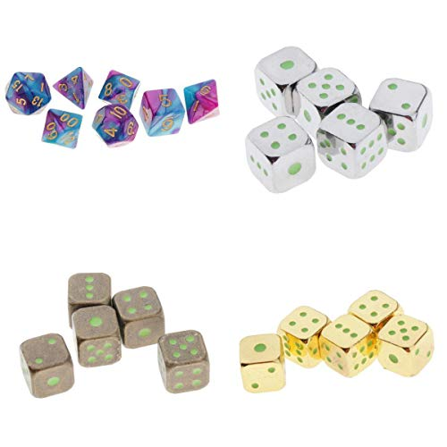 MagiDeal 22pcs Polyhedral Noctilucent Dice Set Board Game for