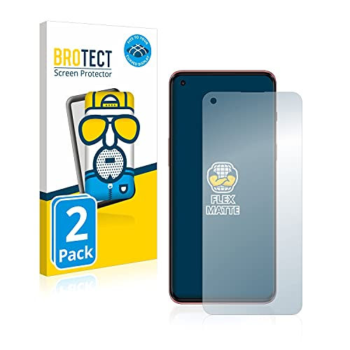 BROTECT Full-Cover Schutzfolie Matt kompatibel mit OnePlus Nord 2 5G (2 Stück) - Full-Screen Bildschirmschutz-Folie, 3D Curved, Anti-Reflex