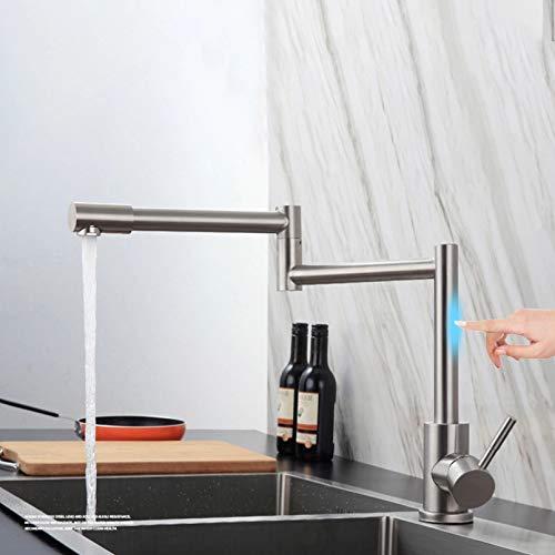 Touch Sense Kitchen Single Cold Faucet Un orificio de montaje en cubierta Sensor Tap Smart Grifos plegables de acero inoxidable Cepillo Girar grifos