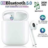 Auricolari Bluetooth 5.0 Wireless Stereo 3D Smart Touch Control Cuffie con IPX7 Impermeabilità al Rumore Connessione Pop-up Accoppiamento Automatico per Lavoro Sport Viaggio-Bianco