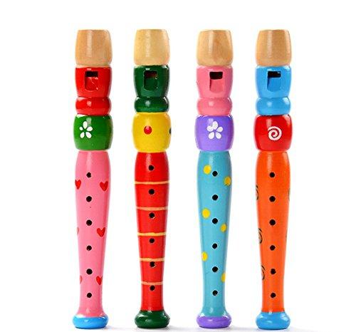 Bunt HöLzerne Trompete Musikinstrument Piccolo PäDagogisches Spielzeug Geschenk FüR Kinder Süß Puzzle Spielzeug YWLINK