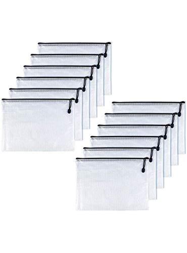 OAIMYY B6-Waterproof Tear-Resistant Plastic Zipper Pen File Document Folders Pockets Travel Bags,12-Pcs,Black-7.87'x 5.51'