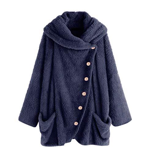 iHENGH Damen Herbst Winter Bequem Mantel Lässig Mode Jacke Mode Frauen Knopf Mantel Flauschige Schwanz Tops Mit Kapuze Pullover Lose Pullover(Dunkelblau, L)