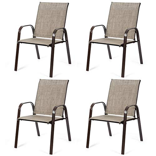Giantex 2 Piece Patio Chairs, Outdoor Camping Chairs with Breathable Fabric, Set of 2 Garden Chairs with Armrest High Backrest for Garden Patio Pool Beach Yard Space Saving (2, Grey)