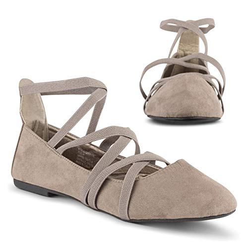 Twisted Sara Womens Flats | Ballet Flats with Elastic Straps and Comfort Insole, Taupe, 9