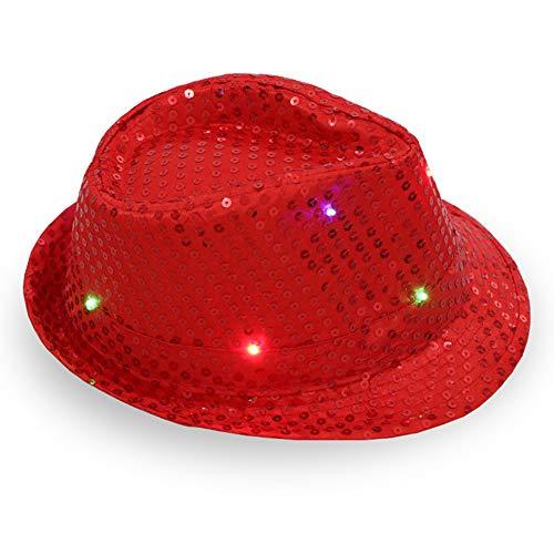 Chapeau de trilby LED lumineux LED à paillettes pour spectacle de scène, jazz unisexe Hiphop Fancy Dress Rouge