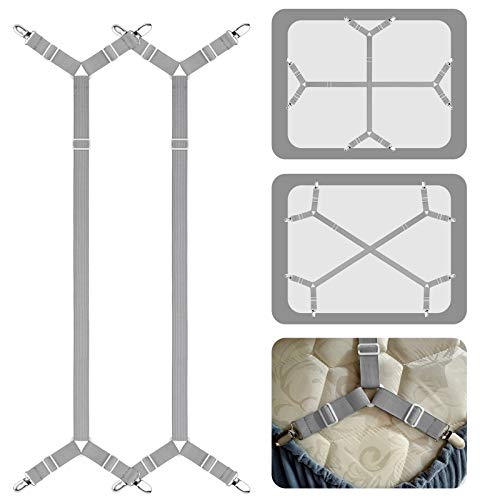 ACEDÉCOR Bed Sheet Fasteners Suspenders Clips, Adjustable Crisscross Bed Corner Straps Grippers Holders Hold Sheet on The Mattress(2 Pieces, Grey)