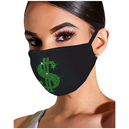 UKSY Outdoor Masks Women Reusable with Drill Breathable Fashion Cotton Windproof Black Face Mask