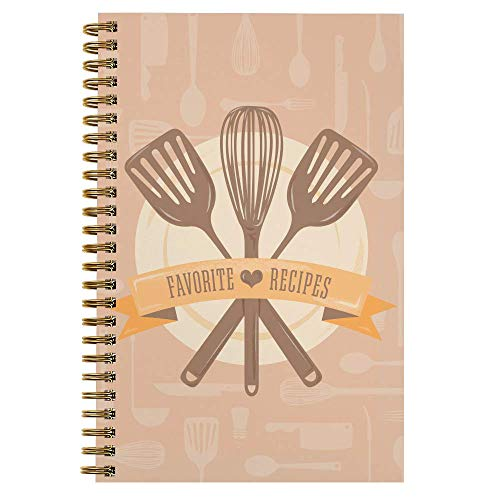 Softcover Classic Recipes 5.5' x 8.5' Spiral Recipe Notebook/Journal, 120 Recipe Pages, Durable...