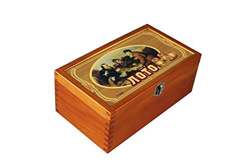 GMMH Lotto in Holzkiste Bingo Loto Russisches Spiel (Holzkiste Farbe Kupfer)