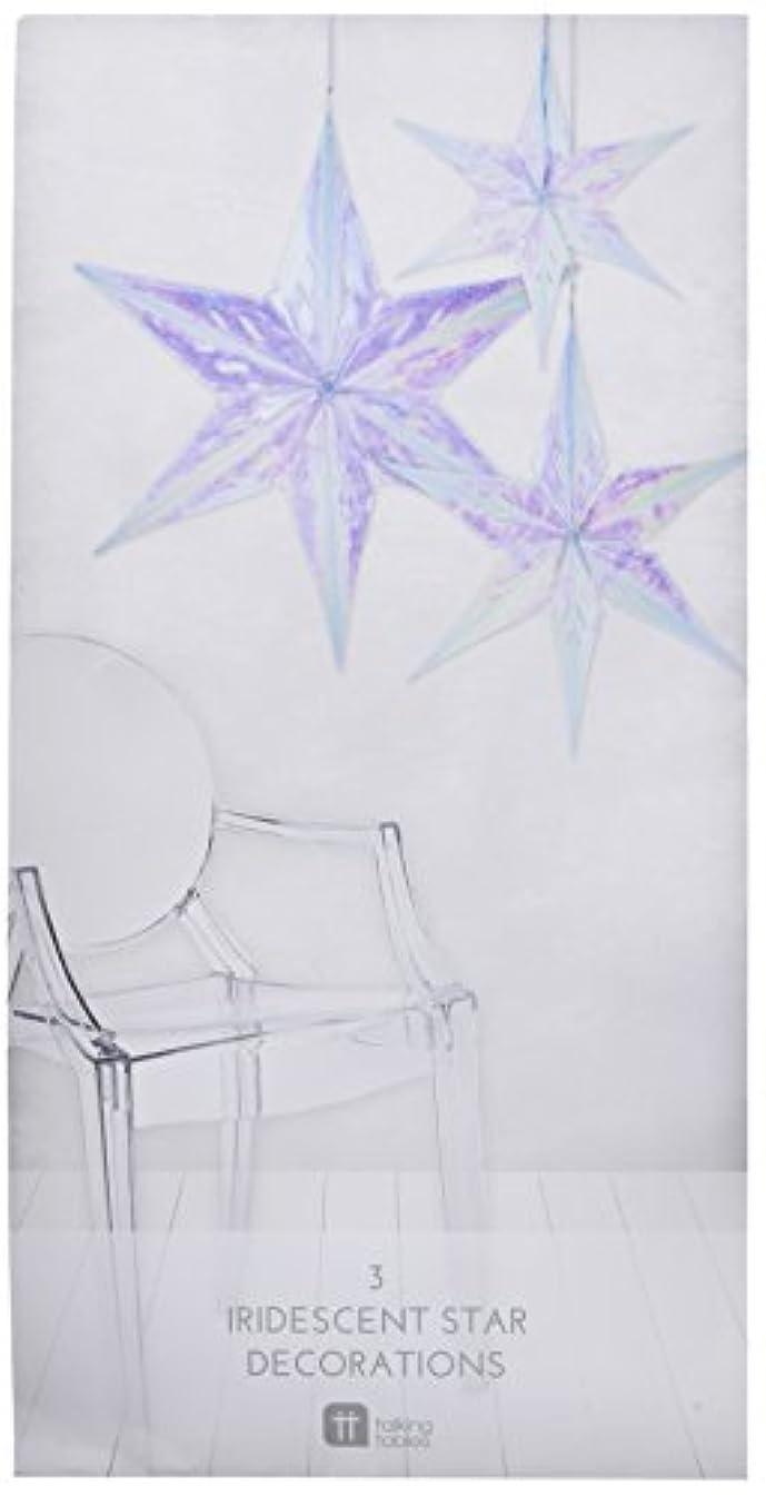 Talking Tables Decadent Dec's Iridescent Hanging Star Decorations (3 Pack), Multicolor