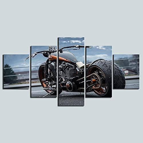 ZHONGZHONG 5 Cuadros En Lienzo Decoración Pared Modernos Cuadro Motocicleta De Lujo con Neumáticos Grandes Salón, Dormitorio, Cocina. Decorativo Imagen 60X32 Pollici / 150X80 Cm