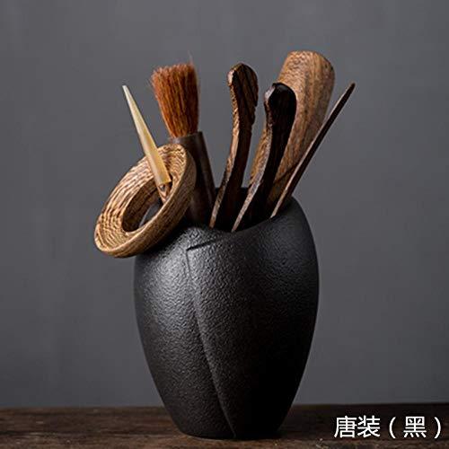 GBCJ Accesorios para Juegos de t Alitas de Pollo Ceremonia del t Seis Caballeros Kung Fu Juego de t Accesorios Ceremonia del t Decoracin-Tang Disfraz (Negro) jnkkfd2724
