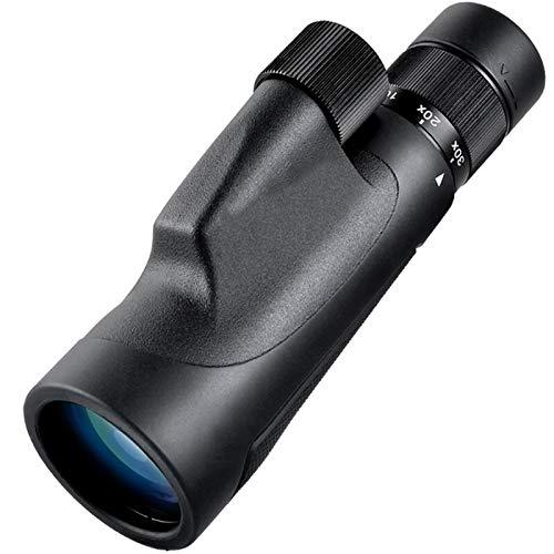 huasa High Definition Monokulares Fernrohr 10-30x50,Monokular Kompakt mit BAK4-Prismen und FMC grün Linse für Erwachsene wenig Licht Nachtsicht,mit Smartphone Halter/Stativ IPX7 wasserdichte,Black
