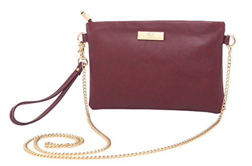 Aitbags Soft PU Leather Wristlet Clutch Crossbody Bag with Chain Strap Cell Phone Purse,Wine