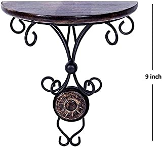 Chritmas Gift/Chritmas Sale Wooden & Iron Standard Size (9 Inch Height) Antique Inspired Wall Hanging Wood & Wrought Iron Fancy Wall Bracket for Home and Living Room Decoration.