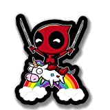 Deadpool Swords Unicorn Sticker - Funny Stickers Laptop Decal - Vinyl Decal Deadpool Sticker - Accessories for Truck Window, Cars, Bumper, Diary Notebook, Laptop, iPad, or Luggage