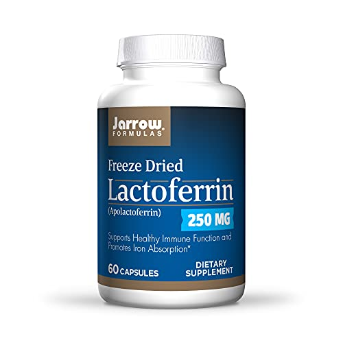 Jarrow Formulas Lactoferrin 250 mg - 60 Capsules - Immune-Supporting Glycoprotein - Support Healthy Immune Function & Iron Absorption - Freeze Dried - 60 Servings