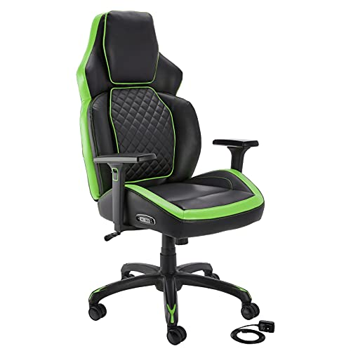 Amazon Basics Ergonomic Gaming Chair with Bluetooth Speakers and Built-in Mic, Push-Button Height Control - Green
