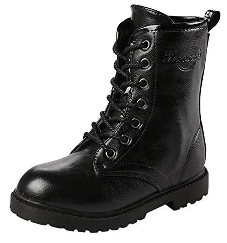DADAWEN Boy's Girl's Waterproof Outdoor Combat Lace-Up Side Zipper Mid Calf Boots Black US Size 5 M Big Kid