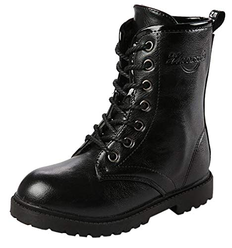 DADAWEN Boy's Girl's Waterproof Outdoor Combat Lace-Up Side Zipper Mid Calf Boots Black US Size 5 M Big Kid