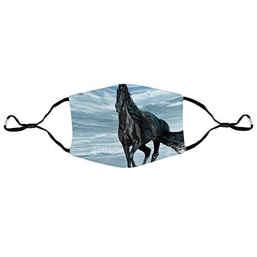 Dkisee Fashion Unisex Gesichtsmaske 5k Malerei Kunst des schwarzen Pferdes Laufen am Strand Anti-Staub-Maske verstellbare Ohrschlaufe Gesichtsmaske Outdoor Schutzmaske, Herren, Farbe 1, 20x15cm