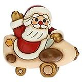 THUN - Soprammobile Babbo Natale su Aeroplano - Decorazioni Natale Casa - Formato Grande - Ceramica - 10,5 x 9,5 x 10,5 h cm