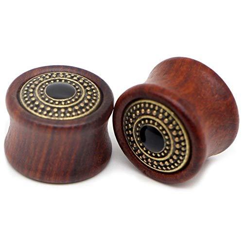 Tapones para los oídos, dilatadores de madera de 8 a 25 mm, dilatadores de oreja de 8 a 25 mm, dilatadores de oreja (color de piedra principal: 22 mm, color metálico: 810 d)