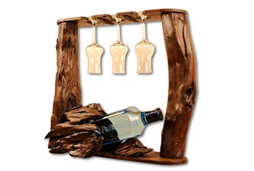 Kinaree Wurzelholz Flaschenhalter - Flaschenständer für 1 Flasche und 3 Gläser, für Wein, Likör oder Schnäpse - Geschenkidee für Geburtstag, Weihnachten oder Hochzeit
