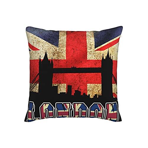 Kissenbezug mit britischer Flagge & Londoner Brücke, Leinenimitat, dekorativ, 45,7 x 45,7 cm, für Zuhause, Sofa, Schlafzimmer, Wohnzimmer