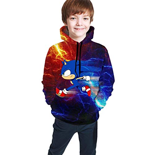 HGdggvd Kinder/Jugend Hoodies S-onic Boo-m Feuer und EIS Unisex 3D Print Plus Velvet Hooded Sweatshirts