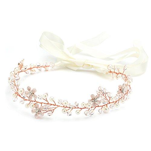 Mariell Crystal Rose Gold Bridal Wedding Headband Vine - Flowers, Ivory Pearls & Ribbon