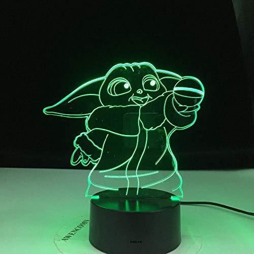 3D LED Night Light,Baby Meme Figure Nightlight for Kids Child Bedroom Decor Table Lamp Baby Mini Yoda for Xmas/Birthday(remote control)