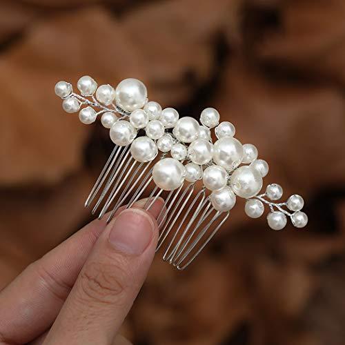 Mayelia Perlen-Braut-Haarkamm, silberfarben, Kopfschmuck, Brautschmuck, Haarschmuck für Frauen und Mädchen