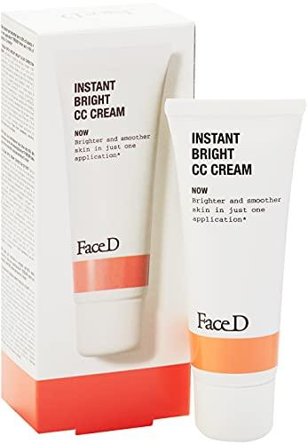 Face D | CC Cream, Crème Correctrice de Teint avec Acide Hyaluronique et SPF20, Dark, 40 ml