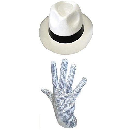 Michael Jackson Chapeau & Gants Sequin Déguisement Gangster al Capone Unisexe - Blanc Chapeau & Gants Sequin, One Size, One Size