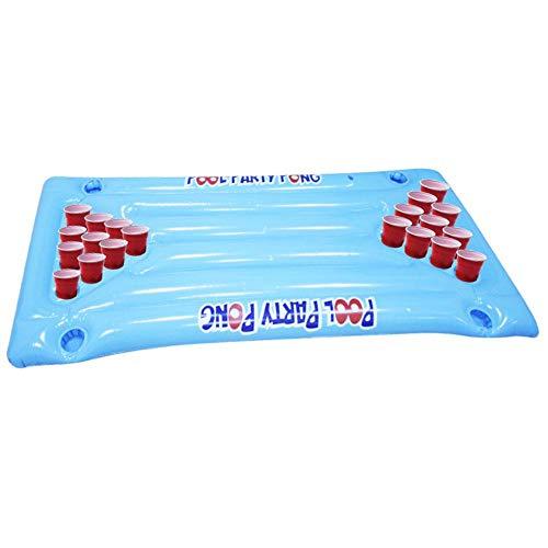 lembrd Beer Pong Luftmatratze Beerpong Tisch 145x60cm Aufblasbares Bierpong Luftmatratze Beerpong Tisch Partyspiel Trinkspiel Pool Lounge Raft für Männer Frauen