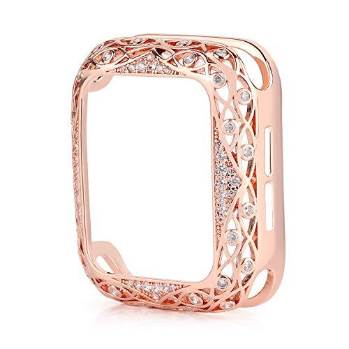 VeveXiao Carcasa compatible con Apple Watch de 40 mm de la serie 6/SE/5/4, carcasa de metal tallada con forma de flor, carcasa de cristal brillante para mujeres/niñas (oro rosa, 40 mm)