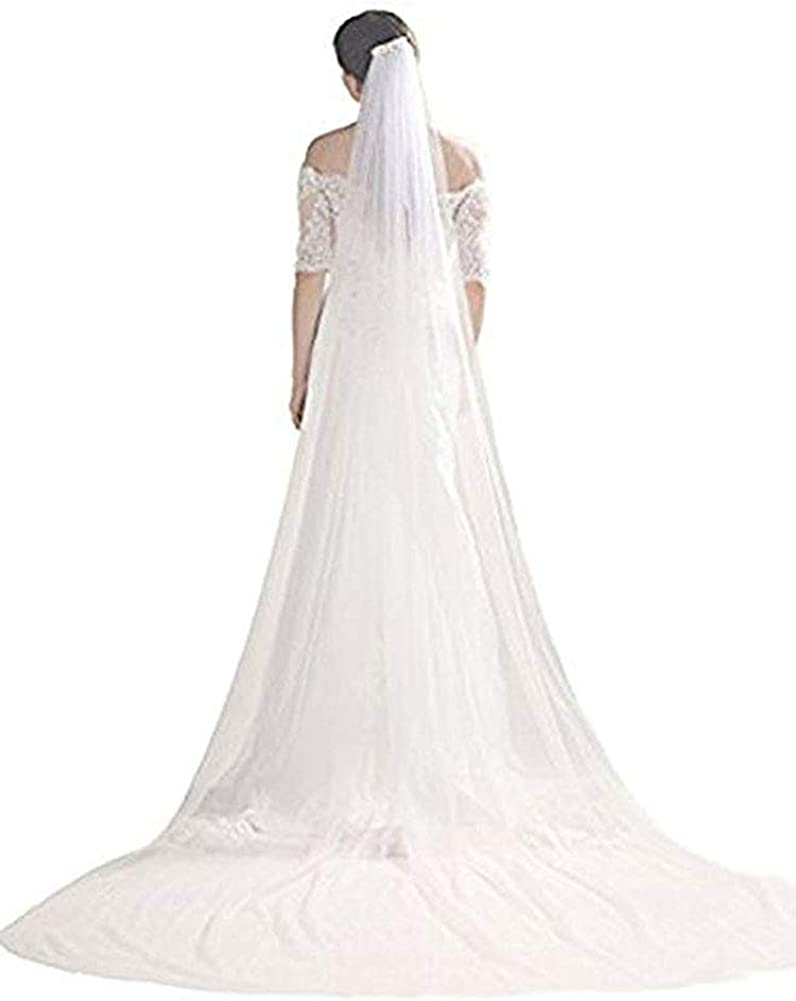 Bridal Wedding Veil 1T Trailing Long Cut Edge with Comb White Ivory