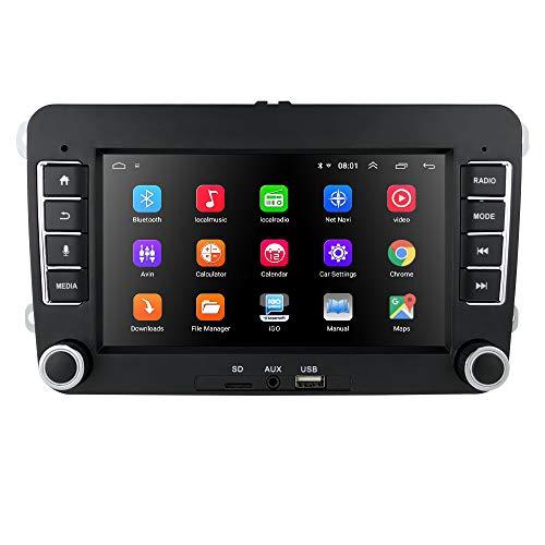 Ossuret Android 9.0 Autoradio 2 Din GPS Navi mit 7 Zoll Touchscreen Passt für Volkswagen/Skoda/Seat Unterstützt Spiegel-Link Bluetooth WiFi 4G SWC DVR OBD2 DAB +