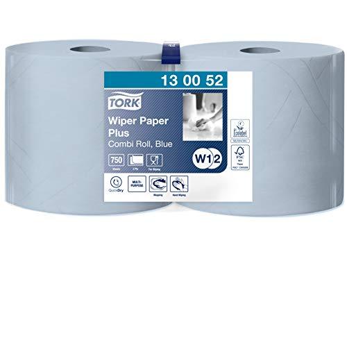 Tork 130052 Starke Mehrzweck Papiertücher für W1/W2 Systeme / 2-lagiges saugfähiges Papier in Blau / 2 x 255m