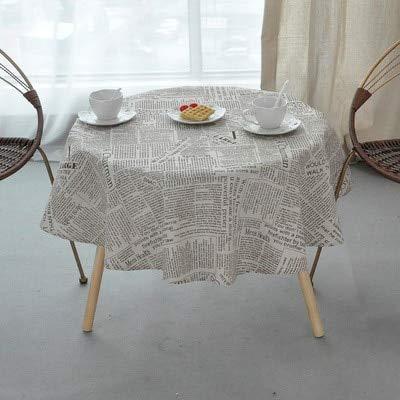 MKHB tafelkleed Nordic polyester katoen rond kleur geel rijst grijs pijl katoen en linnen bedrukt rond 100 cm tafelkleed