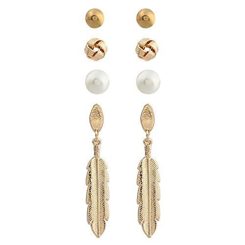 Popular Jewelry Simple Cuatro a una tarjeta Pendientes de combinación de plumas de las mujeres,