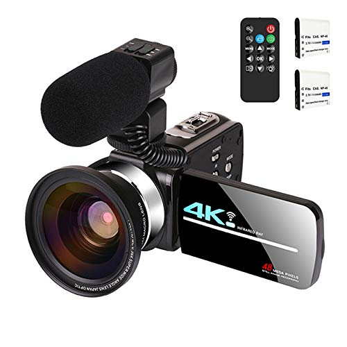 Video Camera with Microphone 4K Camcorder for Live Streaming Webcam Video Recorder KOMERY 4K WiFi Camera 48MP 16X Digital Zoom IR Night Version 3.0'' Touch Screen Camera, 2 Rechargeable Batteries